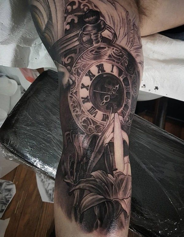 3D Pocket watch and lily tattoo - 100 Awesome Watch Tattoo Designs