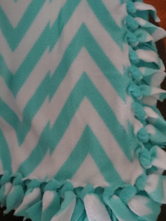 Chevron Fleece Blanket Turquoise No Sew Hand Tied