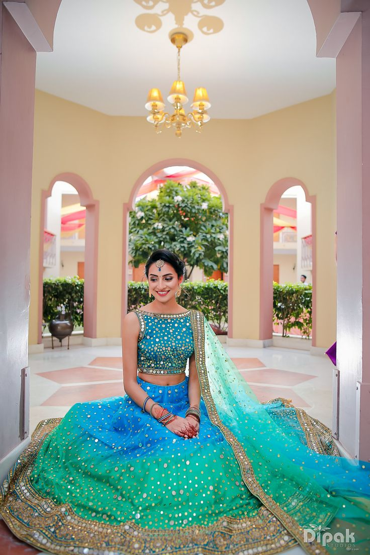 Light Lehengas - Blue and Green Ombre Lehenga | Blue High Neck Mirror Work Blouse with Ombre Green and Blue Lehenga