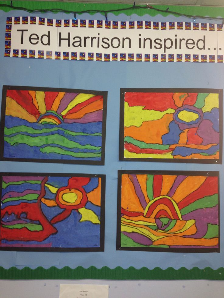 Close-up of year 2 Ted Harrison Art