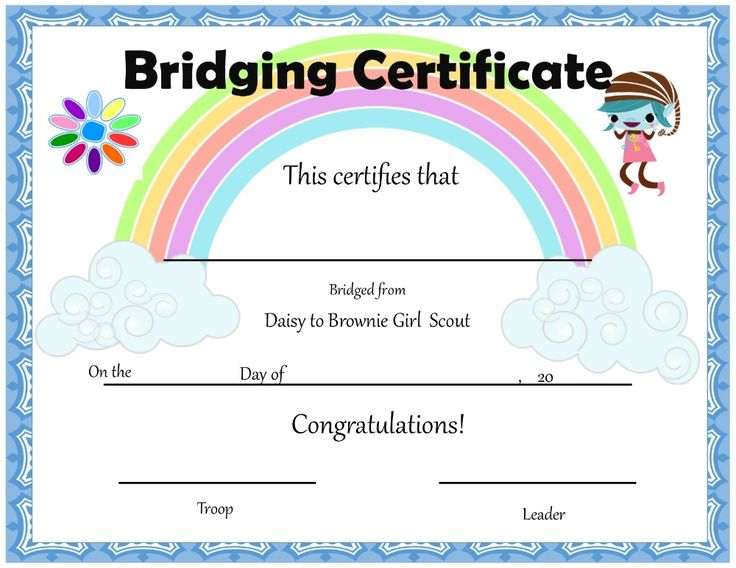 Girl scout daisy to brownie bridging certificate