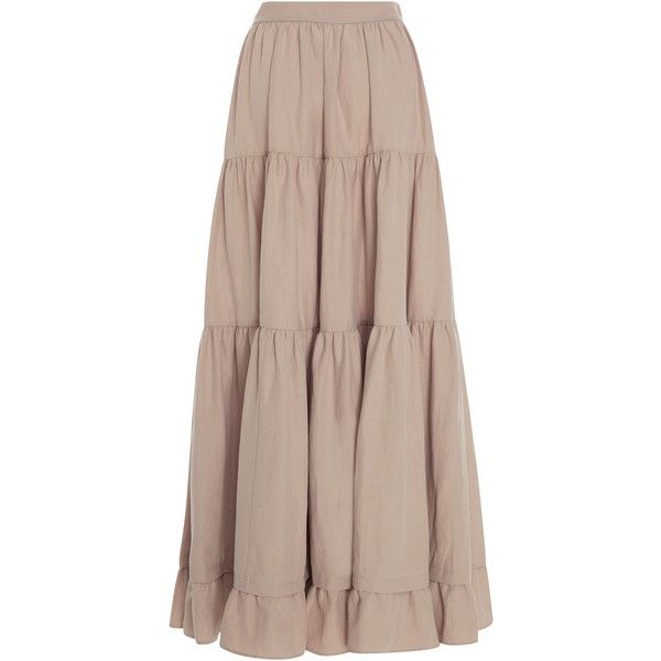 Co Tiered Long Skirt (€1.090) ❤ liked on Polyvore featuring skirts, ruffle maxi skirt, tiered ruffle skirt, long brown maxi skirt, long maxi skirts and floor length skirt