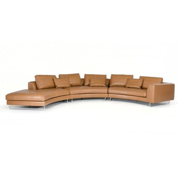 Divani Casa Tulip Modern Camel Full Leather Sectional Sofa. Tyy