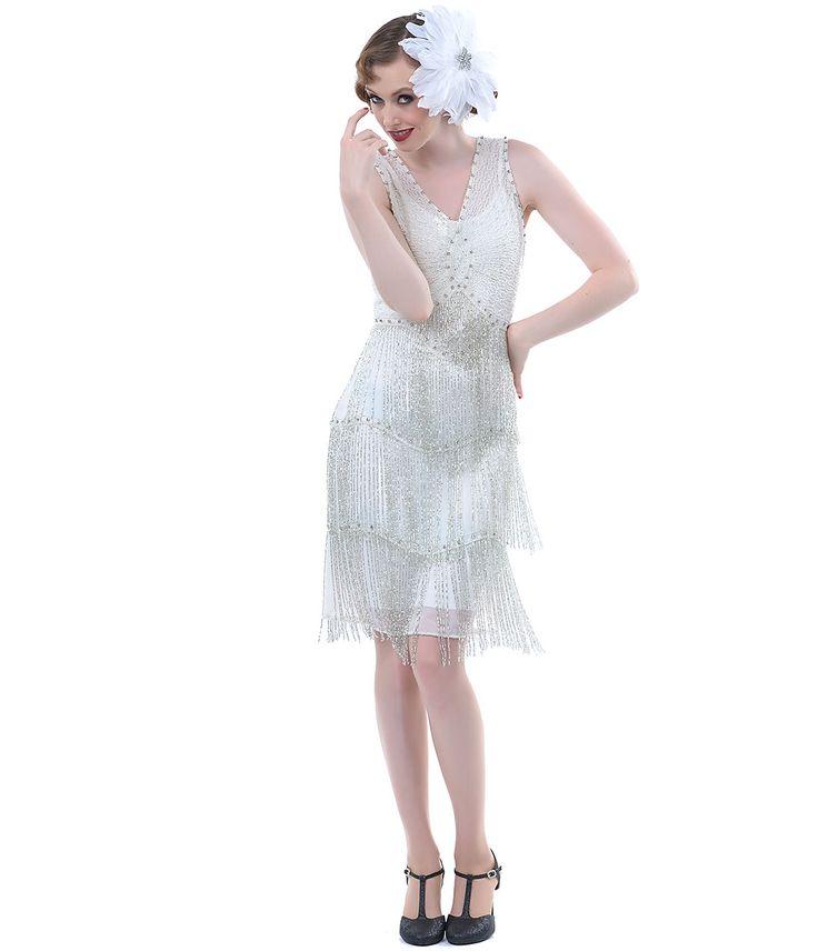 Unique Vintage Ivory & Silver Beaded Fringe Reproduction Flapper Dress - Unique Vintage - Prom dresses, retro dresses, retro swimsuits.