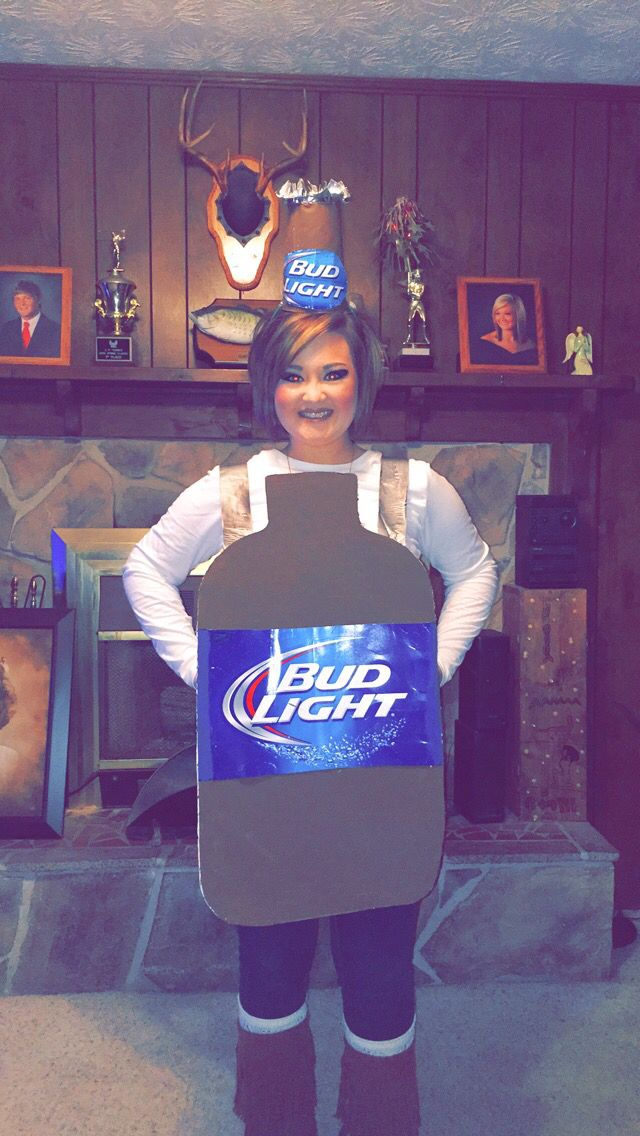 DIY beer bottle costume made from poster board, a cup, a case of beer, paint, duck tape & a hot glue gun.