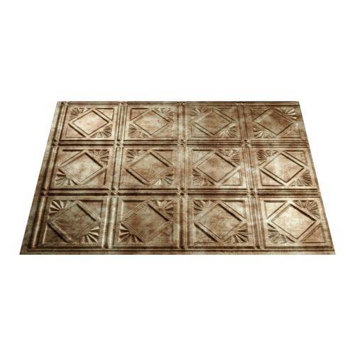 fasade traditional 4 18 x 24 vinyl tile backsplash in bermuda bronze - Kche Backsplash Ubahn Fliesenmuster