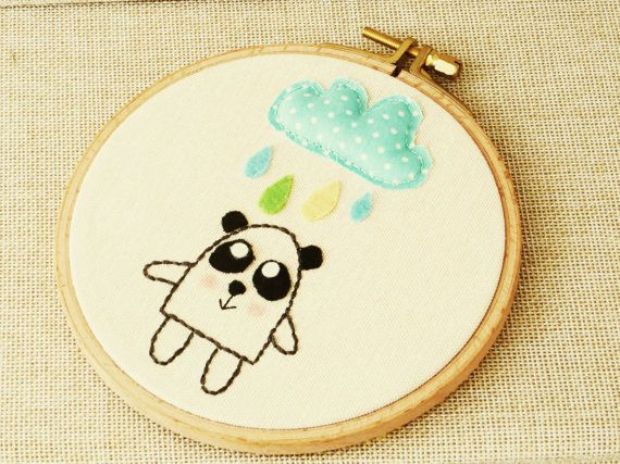 Baby Room Embroidery Art Embroidery Hoop Wall by happyfacecraft