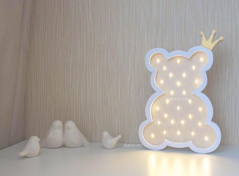 Bear with crown Battery Operated Light Marquee lights, babyshower, baby room, room decor, children gift,  Lighting,  Night Lights , Marquee bear,  night light,  marquee lights,  marquee sign bear,  LED lights, wooden light, marquee letters,  baby shower  led lamp,  nursery night light,  led sign,  wooden night light,