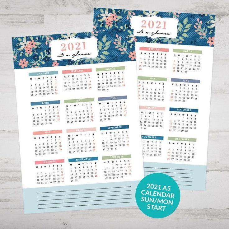 Printable 2021 At A Glance Calendar, Yearly Calendar ...