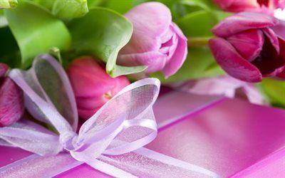 Scarica sfondi 8 marzo, tulipani, tulipani rosa, regalo, podarunok, rose giardino del paradiso