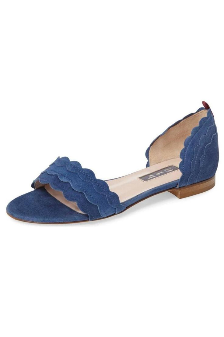 Bobbie style faux suede flats with scalloped edges and slip on style. Signature grosgrain ribbon on the heel.   Bobbie Suede Flat by SJP Collection by Sarah Jessica Parker. Shoes - Flats Back Bay, Boston, Massachusetts