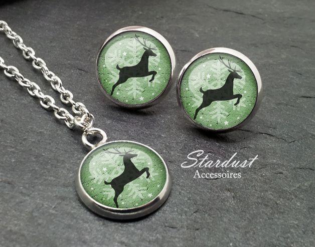 Schmuckset silber ❅ Rentier grün II ❅ von Stardust Accessoires auf DaWanda.com