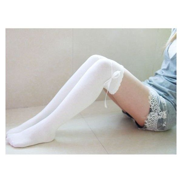 100% Cotton Socks White Thigh High Socks Cute Socks With Self Tie Ruff ❤ liked on Polyvore featuring intimates, hosiery, socks, cotton hosiery, white thigh high socks, white cotton socks, white socks and thigh high socks