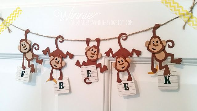 Monkey banner made with the products of Marianne Design