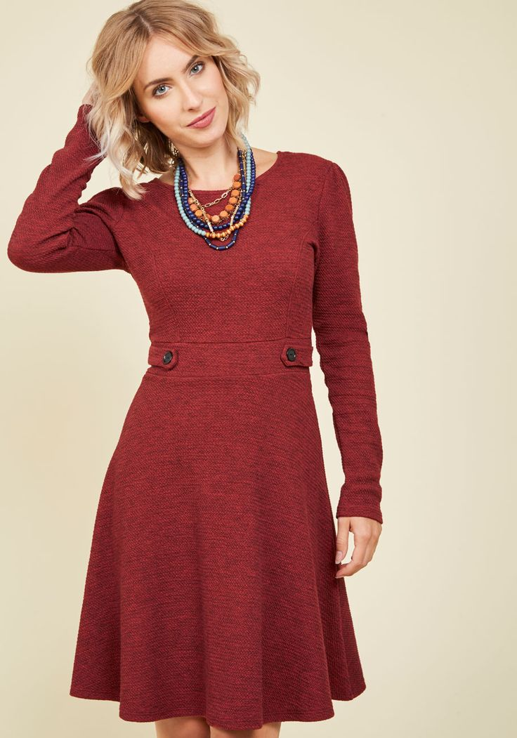 The Flirts of Its Kind A-Line Dress. Pioneer a series of uniquely coquettish looks with this rust red dress as the foundation! #red #modcloth