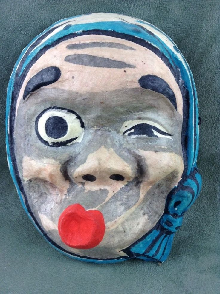 Two Japanese paper mache masks, one Hyottoko mask & one Otafuku/Okame. The Hyottoko mask (the male one) has some wear one the edges. It is hand painted. The female mask is in good overall condition.   eBay!