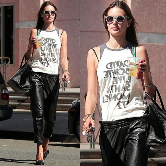 How to Chic: ALESSANDRA AMBROSIO IN LEATHER JOGGER PANTS