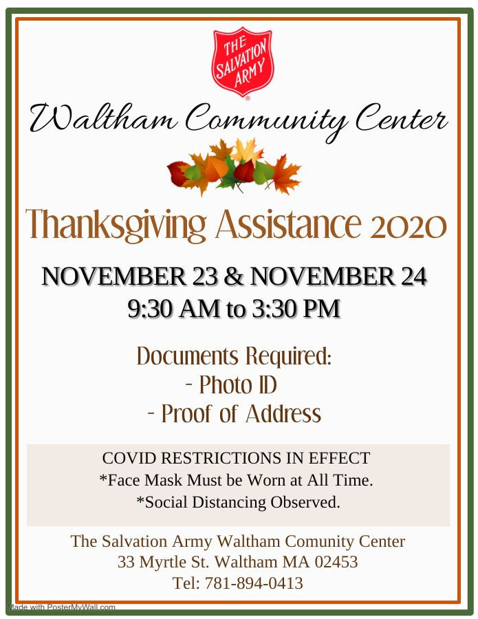 Thanksgiving Assistance In 2020 Salvation Army Waltham Ma Waltham