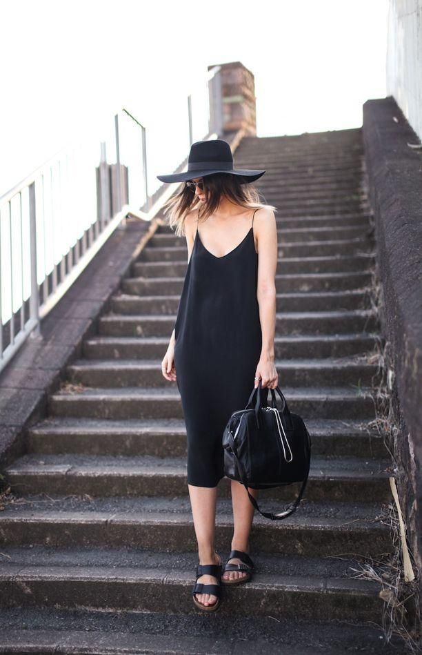 slip dress hat and birks all in black outfit