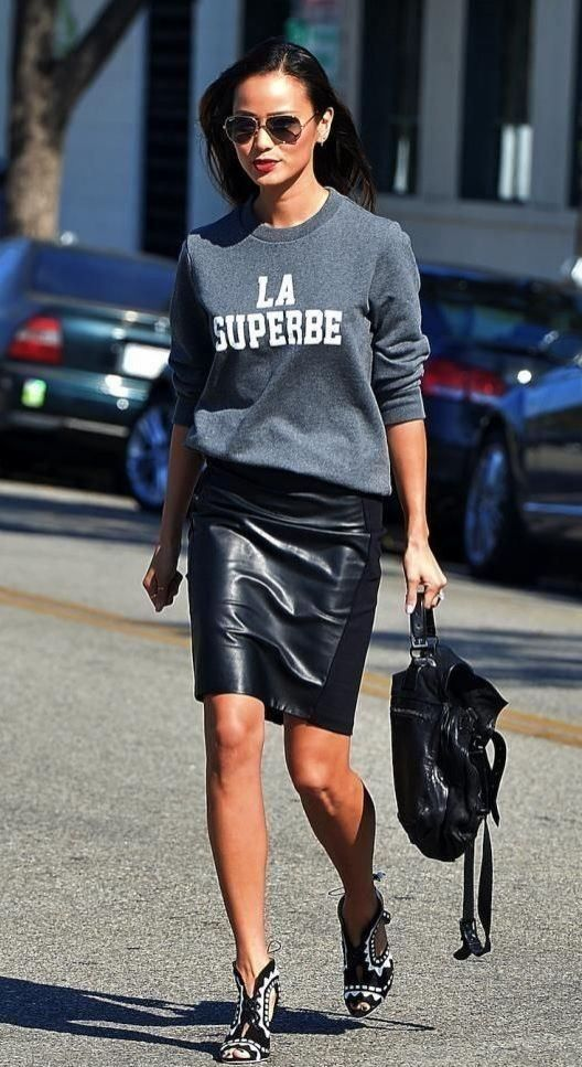 Great what+to+wear+with+a+leather+pencil+skirt+:+sweatshirt+++bag+++boots