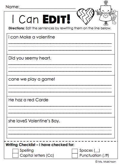 editing valentine 39 s day sentences for first grade valentine 39 s day classroom fun pinterest. Black Bedroom Furniture Sets. Home Design Ideas