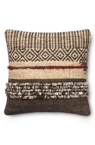 """A mixed-media pillow woven from earthy jute and wool adds a perfectly rustic touch to your décor.22"""" square.50% jute, 50% wool with polyester fill.Dry clean.By Loloi; imported."""