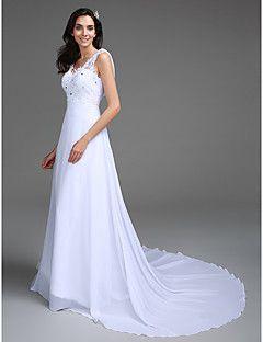 A-Linie Extraklein / Übergrößen Hochzeitskleid - Schick & Modern Vintage Inspirationen Pinsel Schleppe V-Ausschnitt Chiffon / Spitze mit