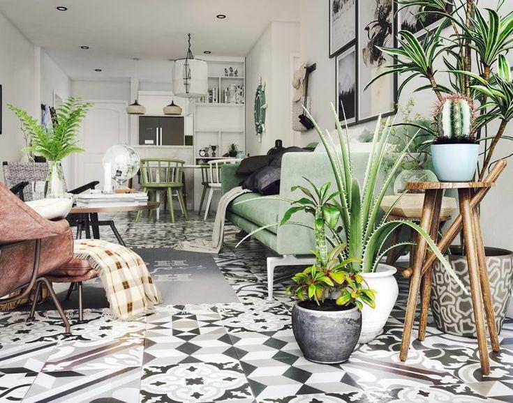 A dreamy green living room