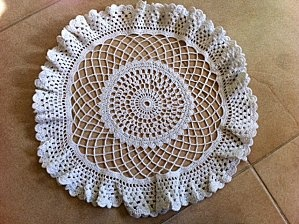 Lacy doily made on a two hour car trip!