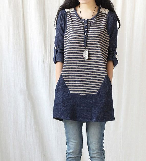 Spring denim dress/ women tunic blouse long shirt dress by MaLieb, $79.00