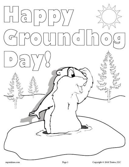 FREE Printable Groundhog Day Coloring Page! Get this fun Happy Groundhog Day coloring page for your toddlers, preschoolers, or kindergartners here --> https://www.mpmschoolsupplies.com/ideas/7905/free-printable-groundhog-day-coloring-page/