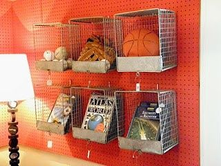 cute storage for a boys room - and do you see that hockey puck lamp in the corner?
