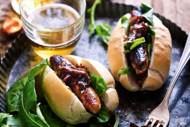 Snags with onions cooked in beer