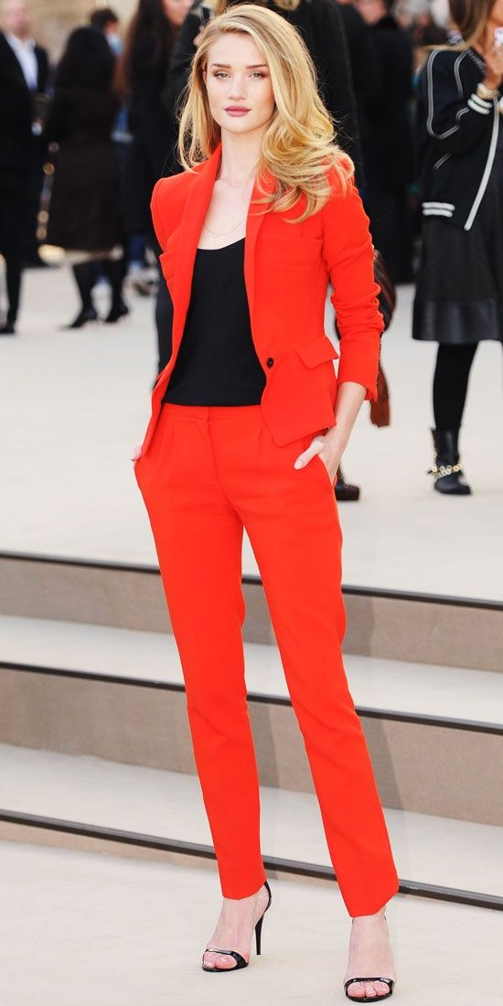 huntingtoncba: Rosie Huntington-Whiteley WHAT SHE WORE Rosie Huntington-Whiteley suited up in a slim Burberry Prorsum ensemble at the label's Fashion Week show. - Look of the Day - InStyle