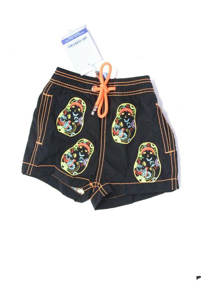 Les Canebiers Childrens Boys Ermitage Neon Nesting Doll Swim Shorts Black Size 2