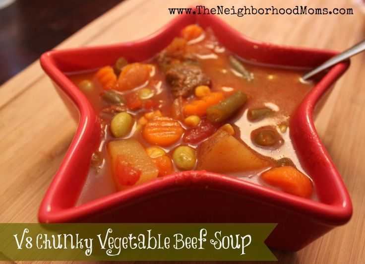 One of my absolute favorite meals is homemade vegetable soup.  I like a good hearty rustic soup with huge chunks of vegetables and a tomato base.  The kicker to this recipe is that I use V8 juice as the base, a whole jug!  The flavor is amazing and rich and delicious.  Trust me! …