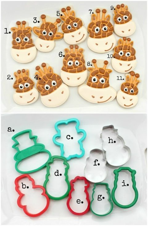 Giraffe cookies using different cookie cutters