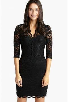 Alternate Image 1 Selected - Karen Kane Scalloped Lace Sheath Dress (Regular & Petite)