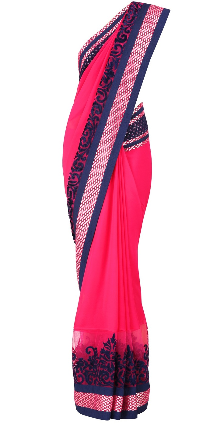 Varun Bahl  Fuchsia and navy sari with silver cut diamond pattern and velvet cutout border.