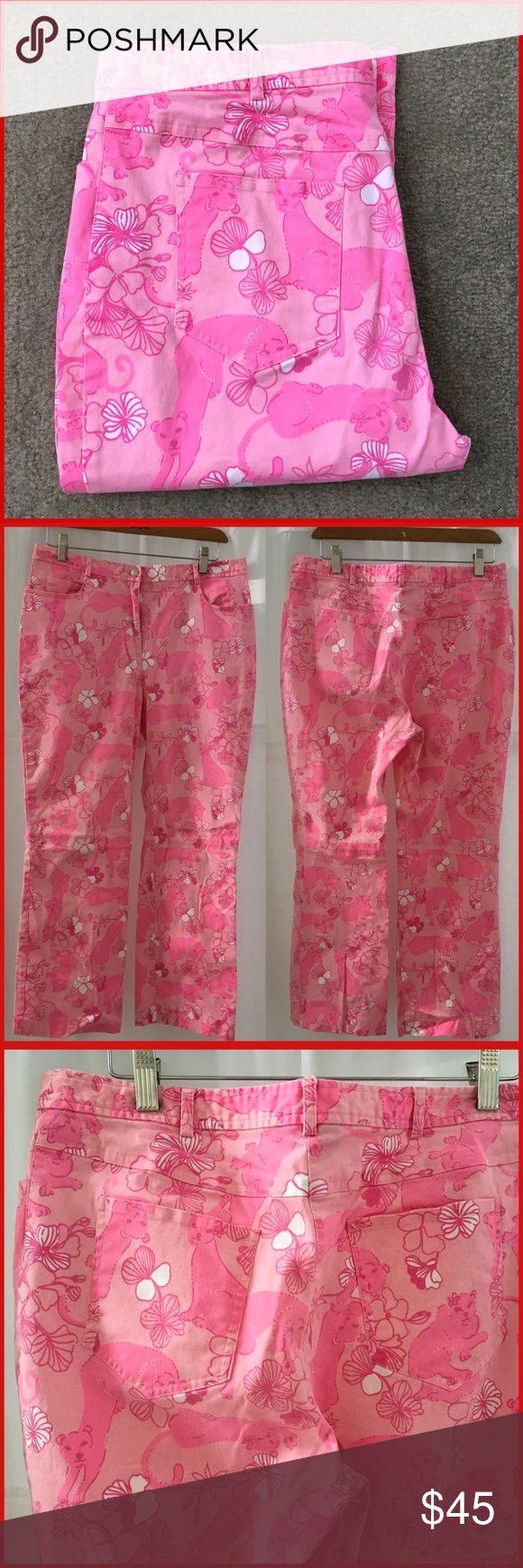 Lily Pulitzer pink panther pants jeans Previously worn but in good condition. I did find a brown spot on the back of a leg. Please see photo.  Waistband is 16.25 inches across the front front rise is 11 inches and inseamis 27 inches. 95% cotton 5% spandex size is 12 Lilly Pulitzer Pants Ankle & Cropped