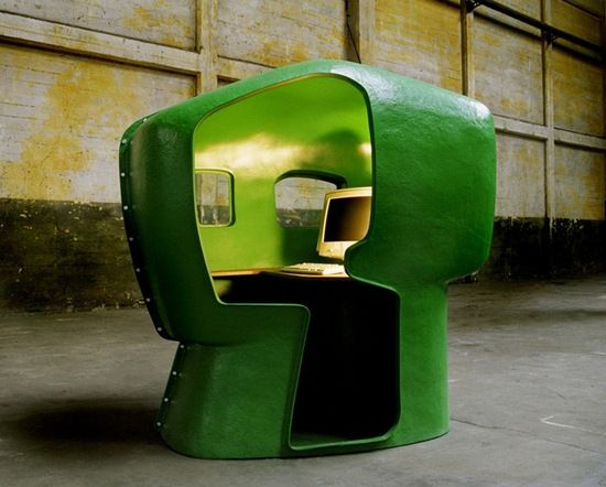 outdoor office pod. the skull workstation is one funky fiberglass office pod from atelier van lieshout outdoor e