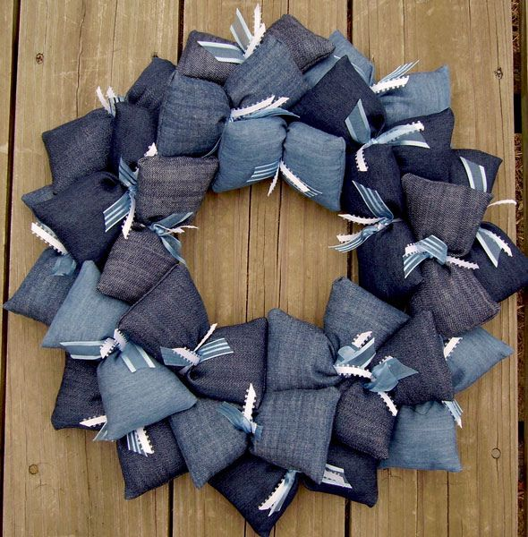 All Denim Fabric Wreath
