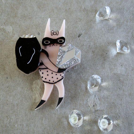 Bandit Bunny Wearable Art Pin by Winnifreds by WinnifredsDaughter