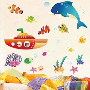 LetS Diy Cartoon Submarine Whale Third Generation Removable Wall Stickers Bathroom Kids Room Nursery Decor Mural Decal Wallpaper >>> Be sure to check out this awesome product. (Note:Amazon affiliate link)