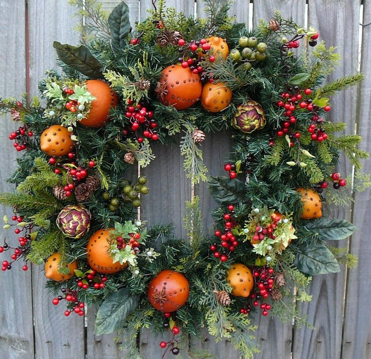 Holiday / Christmas Wreath - Williamsburg Style Christmas Wreath with Fruit  Artichokes and Berries - Christmas Fruit Wreath.  via Etsy.