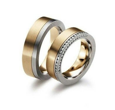 18 Kt two tones gold wedding rings  With 0.35 ct Vs1 H diamond  885 euro  İola jewellery bodrum Turkey