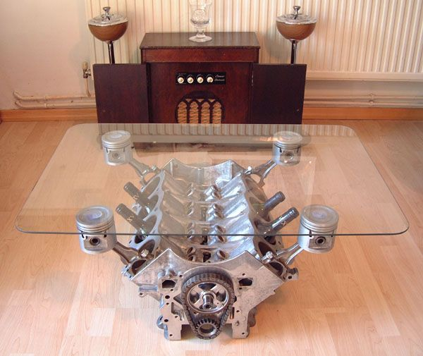 old Rover V8 engine block. Awesome concept and definitely goes a long way to help keep crap out of the trash pile