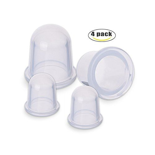 JungleArrow Silicone Cupping Set of 4 Cupping Therapy for Cellulite Body Massage Suction Cup Therapy(2 Large size,2 Medium size) ALTERNATIVE MEDICINE FOR BODY AND FACE - Helps treat muscle and joint pain, inflammation, arthritis, fibromyalgia, neck and shoulder tension, stress relief. Visibly firm skin, lose inches and weight, reduce cellulite, stretch marks, scars, spider veins. TESTED AND SAFE TO USE - Made of extra-thick high-grade hypoallergenic silicone, our cellulite cups have ...