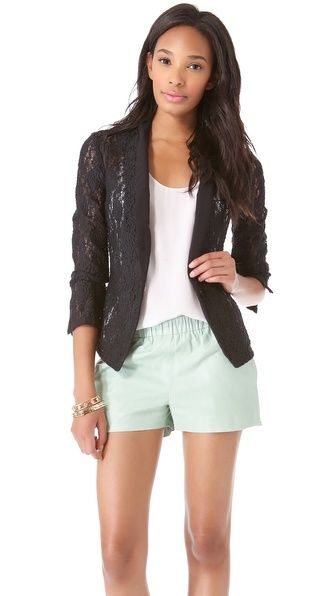 Juicy Couture Stretch Lace Blazer..throw on some black strappy's for summer then some Booties for spring,early fall. (Maybe some brown jeans by then)