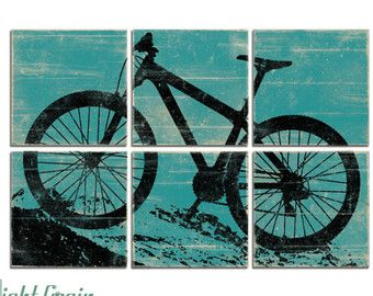 Boys Room Art Decor Large Mountain Bike Print by RightGrain